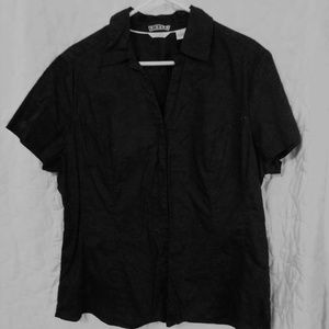 Black Short Sleeved front button collard shirt